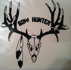 "Truck Decal Window Vinyl Hunting Antlers "" BOW HUNTER "" 11 x10.5 inches Deer #DecalsMore"