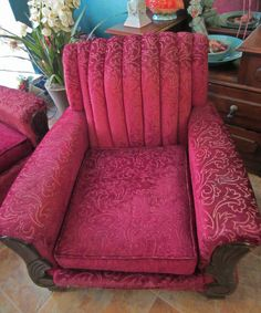 vintage 1930s art deco couch chair fuschia burgundy sculptured frieze fabric ebay