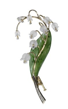 carved quartz serpentine & diamond lily of the valley brooch