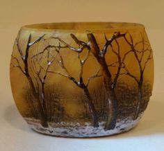 French Daum Nancy. Enamelled Cameo glass cabinet vase. A Winter landscape. C1910