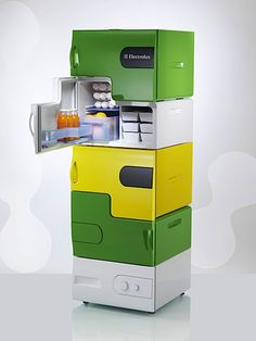 Flatshare Fridge - cool idea for a rec room for everyone to have their own snack/beverage fridge :-)