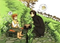 This is such a cute picture. I love how low Sherlock has to crouch down to see Bilbo. @Lauren Row