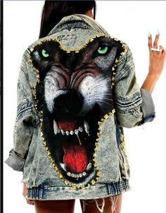 Oversized wolf acid wash denim jacket