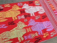 Colorful  Ethnic Table Runner Laos Embroidered Roosters by SiameseDreamDesign, $42.00