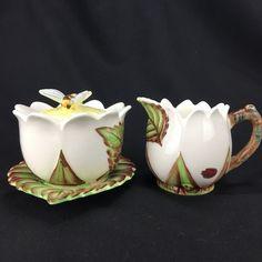 6 Plates Dish Blue Edge Purple Orchid Dollhouse Miniatures Kitchen Deco Ceramic
