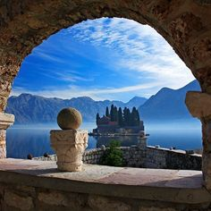 Island View, Kotor Bay, Montenegro {Montenegro is country with it's coast on the Adriatic Sea to the SW, bordered by Croatia to the W, Bosnia and Herzegovina to the NW, Serbia to the NE, Kosovo to the E and Albania to the SE}