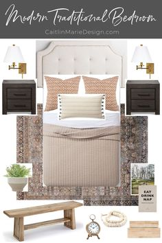 """Modern Traditional Guest Room Mood Board (ORC Week - Caitlin Marie Design Today I'm sharing a mood board and """"before"""" photos for the fall One Room Challenge, Come see my plans for a modern traditional guest room Modern Traditional Decor, Traditional Bedroom Decor, Guest Room Decor, Master Bedroom Makeover, Guest Bedrooms, Blue Bedrooms, Minimalist Home, Home Bedroom, Teen Bedroom"""