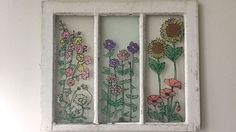 Turn An Old Window Into Wall Art - Love the look of stained glass but hate the price? DIY the perfect stained glass window with this simple diy trick. Custom Stained Glass, Faux Stained Glass, Stained Glass Windows, Custom Glass, Window Glass, Mosaic Wall, Mosaic Glass, Glass Art, Sea Glass