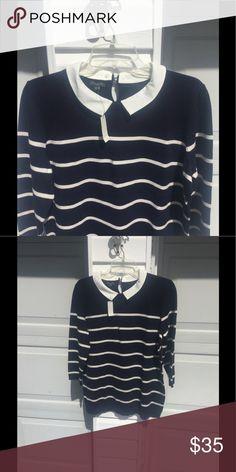 "NWT Talbots Navy Blue Cream Striped Sweater 1X So cute! NWT Talbots Navy blue with cream stripes and cream removable collar. Bust 44"", length 26"". Originally $99. Talbots Sweaters Crew & Scoop Necks"