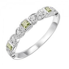 10k white gold diamond and square peridot channel set birthstone ring