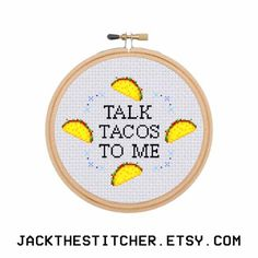 PDF ONLY Talk Tacos To Me Subversive Modern Cross Stitch Template Pattern Instant PDF Download