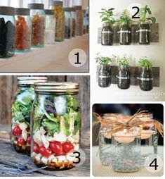 I like #1 of the MasonJars ideas: Use the jars as storage holders for things like pasta
