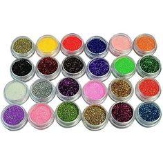 24 Colors Nail Glitter Acrylic Powder Dust 3D Tip Nail Art