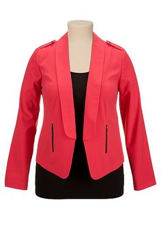 Teaberry Open front plus size blazer with studs (original price, $54) available at #Maurices