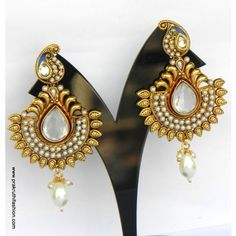 Gold Plated Kundan Earrings With Glorious Traditional Design, Drops A12