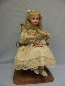 """18"""" Antique Tete Jumeau Automaton c1890 Knitter by Roullet Decampmusical Works 