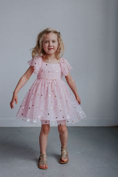 Little Girl's Pink Tulle Dress with Gold Polka Dots – cuteheads Baby Girl Party Dresses, Little Girl Dresses, Baby Dress, Pink Dress, Girls Dresses, Little Girl Clothing, Pink Toddler Dress, Pageant Dresses, Little Girl Fashion