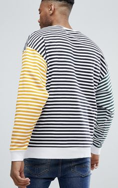 ASOS TALL Oversized Sweatshirt with Contrast Stripes from ASOS #ad #men #fashion #shopping #outfit #inspiration #style #streetstyle
