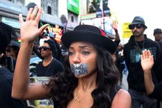 A woman, in Hollywood, who peacefully protested the killing of Eric Garner.