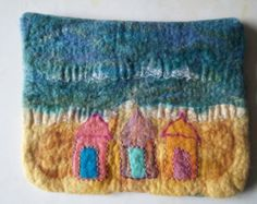 iPad Cover or Small Bag/Handbag Organiser Beach Huts Beach Sea OOAK Blyth Whimsies