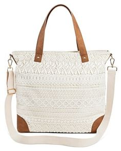 Merona® Women s Crochet Overlay Canvas Tote Handbag with Removable  Crossbody Strap Handbag Cream - MeronaTM bfbdbfd2446ff