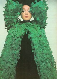 how to wear green in one easy step. Fashion by Givenchy, 1960's.