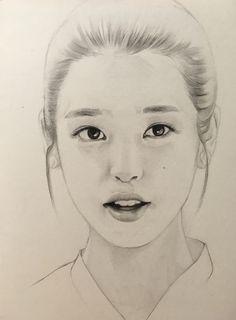 iu pencil drawing by Pencil Sketch Drawing, Girl Drawing Sketches, Face Sketch, Art Drawings Sketches Simple, Pencil Art Drawings, Pencil Portrait, Portrait Art, Beautiful Pencil Drawings, Eye Drawing Tutorials