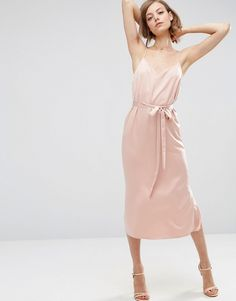 ASOS Midi Slip Dress in Satin With Tie Waist - Pink by: ASOS @ASOS (US) Midi dress by ASOS Collection, Lightweight satin, V-neckline, Self-tie belted waistline, Side splits, Regular fit