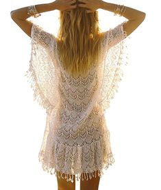 09c1444f854fa Women's Lace Crochet Bikini Cover Up Dresses Swimsuit Cover UPS Beach Mini  Dress - Cream - C218C4T3QAG