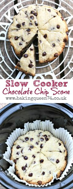 Slow Cooker Chocolate Chip Scones - so easy to make in your crockpot and perfect for Christmas morning Slow Cooker Desserts, Slow Cooker Cake, Slow Cooker Breakfast, Crock Pot Desserts, Crock Pot Slow Cooker, Delicious Desserts, Dessert Recipes, Yummy Food, Crock Pots