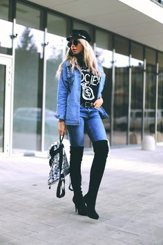 Carmen Grebenisan in Esstiffa Thigh High Boots, Denim Shirt, Blame, Fashion Bloggers, Thigh Highs, Street Style, Jackets, Shirts, Outfits