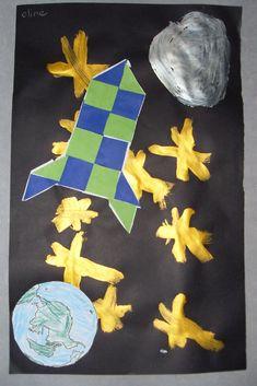 Aarde - raket - maan - sterren