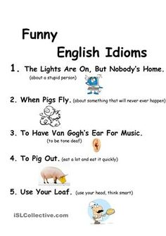 Idioms for Kids Worksheets. 20 Idioms for Kids Worksheets. Idioms for Kids Esl Worksheet by Fun Worksheets For Kids, Algebra Worksheets, Printable Worksheets, Teacher Worksheets, English Grammar Rules, English Phrases, English Language, Second Language, English Vocabulary