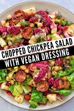 Easy recipe for plant based lunch or dinner! This Raw Chopped Chickpea Salad is made with a Vegan salad dressing that is super simple to make. The perfect recipe raw vegan recipe for beginners! Salad is made with romaine lettuce, radicchio, cherry tomatoes, and chickpeas. Packed with protein and it's super hearty & filling. Add some of your favorite toppings to personalize to your taste. The vegan Italian Dressing tops it all off! (Visit USAPears.org for more healthy vegan recipe ideas) Vegan Recipes Beginner, Raw Vegan Recipes, Vegetarian Recipes, Healthy Recipes, Raw Vegan Dinners, Vegan Meals, Pear Recipes Breakfast, Romaine Salad, Food Picks