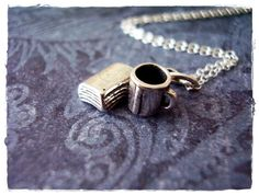 Hey, I found this really awesome Etsy listing at https://www.etsy.com/listing/156149578/tiny-silver-book-and-coffee-cup-necklace