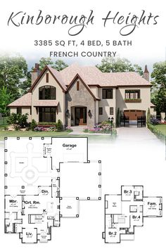 French Country House Plans, French Country Style, Courtyard House Plans, Porte Cochere, Blue Prints, Bookshelves Built In, Open Layout, Walk In Pantry, Formal Living Rooms