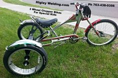 HigleyWelding.com  Custom built chopper bikes for kids with special needs. Rogers,Mn  Ph. 763-483-0356