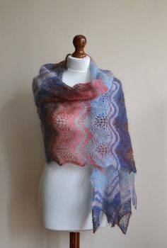 Lace shawl  SALE  hand knitted blue brown maroon by BeaDMcraft, $70.00