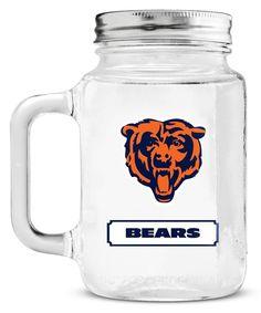 Chicago Bears Mason Jar Glass With Lid