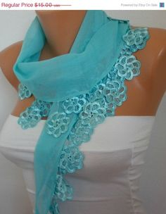 ON SALE Mint Scarf - Women Scarf Cotton Scarf - Cowl Scarf with Lace Edge - fatwoman on Etsy, Sold
