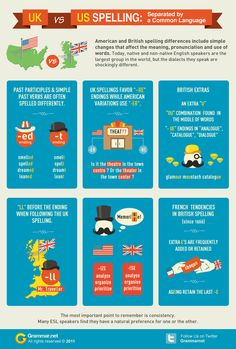 Difference Between British and American Spelling (Infographic) on http://www.myenglishteacher.eu/blog