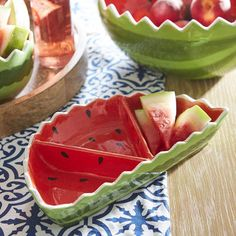 Watermelon Wedge Divided Serving Dish