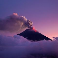 Incredible purple sky during sunset at the Tungurahua #Volcano near Baños, Ecuador. Photo by Mike Theiss @ExtremeNature