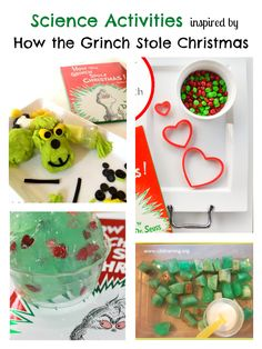 <p>How the Grinch Stole Christmas is such a classic book. I remember reading it and watching the cartoon as a child. After reading or watching the story, try one of these great Grinch themed science activities. Make predictions with this Grinch themed guessing and counting activity from A Little Pinch