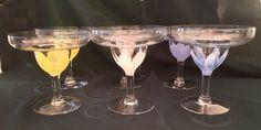 6 Flower Margarita Glasses Hand painted Stemware    eBay