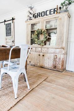 Primitive Dining Room Hutch Neutral Farmhouse Shiplap Walls Furniture