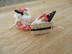 Candy Cane Holiday Cake Earrings Handmade by FlourCityCharms