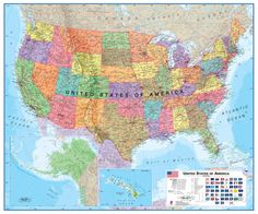 USA 1:4.25 Wall Map, Educational Poster Giant Poster