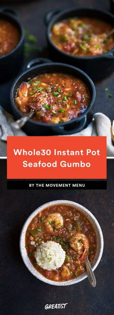 Whole30 Instant Pot Seafood Gumbo  Ready for a week long of Mardi Gras? With just 10 minutes of prep time for a big ol' pot of New Orleans-style Cajun shrimp and bass, this well-seasoned seafood gumbo is where it's at.