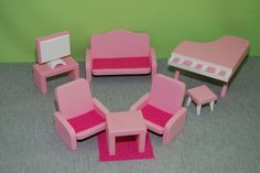 Dollfurniture, Living room, Dollhouse furniture by MyFirstAddress on Etsy
